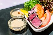Grilled Tuna With Sesame And Cream Salad With Vegetables