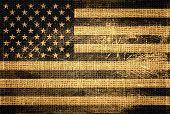 Vintage American Flag Burlap Linen Rustic