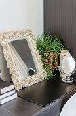 Mirror In Classic Frame Style On Dressing Table