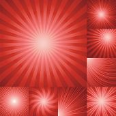 collection of red color burst background.