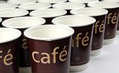 Coffee cups in a row