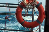 lifebuoy on a background of stormy sea