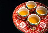 Tea set in traditional Chinese tea ceremony in wedding