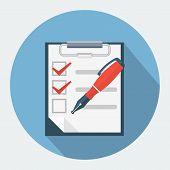 Checklist and nib pen