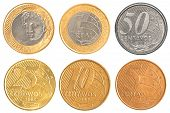 stock photo of brazilian money  - brazil circulating coins collection set isolated on white background - JPG