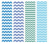 Zig zag chevron blue and green pattern vector set.