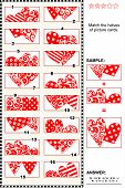 Valentine's Day visual puzzle - match the halves - hearts