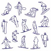 Silhouettes Snowboarders
