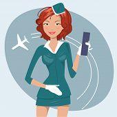 Vector Illustration Of Girl In Stewardess Uniform
