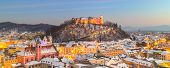 image of roof-light  - Aerial panoramic view of Ljubljana decorated for Christmas holidays - JPG