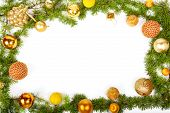 New Year Decoration With Pine Or Fir And Yellow Ornaments