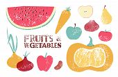 Collection of retro fruits and vegetables. Vector illustration.