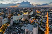 Bangkok Cityscape And Chaophraya River With Cloud