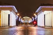 Propileyah colonnade and central portico Smolny. St. Petersburg.