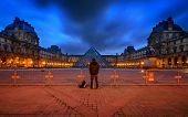 France, Paris - April 14 : Louvre Museum At Twilight Time On April 14, 2013 In Paris, France. The Ph
