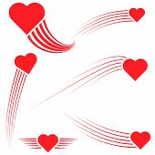 Set Hearts Flies Leaving A Curved Trail