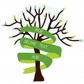Ecological card with tree and ribbon