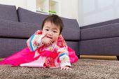 Korean little girl crawl at home