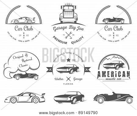 poster of Set Of Vintage Badges Car Club And Garage