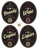 stock photo of alcoholic beverage  - set of retro labels for various alcoholic beverages - JPG
