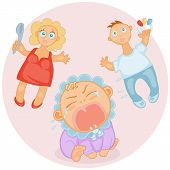 picture of teething baby  - cute baby  toddler screaming and bursting with tears and worried parents - JPG