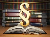 picture of law-books  - Paragraph sign on the vintage book in library - JPG