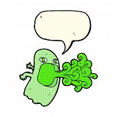 image of funny ghost  - funny cartoon ghost with speech bubble - JPG