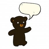 picture of bear-cub  - cartoon black bear cub with speech bubble - JPG