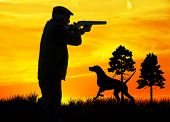 picture of hunters  - hunter in the field - JPG