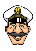picture of moustache  - Cheerful captain or sailor character with moustaches and white cap for nautical or marine design - JPG