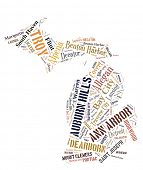 picture of state shapes  - Word Cloud in the shape of Michigan showing some of the cities in the state - JPG