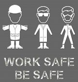 stock photo of engineering construction  - Monochrome construction manufacturing and engineering health and safety related message isolated on grey background - JPG