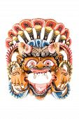 picture of tantric  - colorful ethnic nepalese mask isolated over a white background - JPG