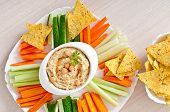 picture of pita  - Healthy homemade hummus with vegetables - JPG