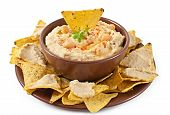 stock photo of pita  - Healthy homemade hummus with olive oil and pita chips isolated on white background - JPG