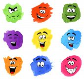 stock photo of emotions faces  - vector illustration of color patches with emotional faces - JPG