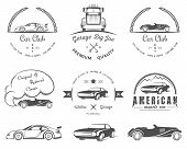 Постер, плакат: Set Of Vintage Badges Car Club And Garage