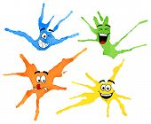 image of dab  - vector illustration of dabs of paint with emotional faces - JPG