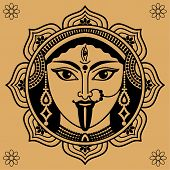picture of goddess  - person of Indian goddess Kali on a beige background - JPG
