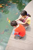 foto of koi fish  - Young boy with sister feeding ornamental koi carp fish in a pond - JPG