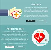 picture of accident emergency  - Medical and health insurance concept in flat style on banners with text and buttons read more and contact us - JPG