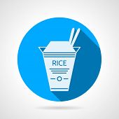 picture of chinese menu  - Flat blue round vector icon with white silhouette cardboard rice pack for take - JPG