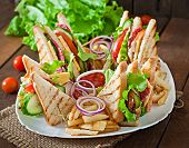 image of tomato sandwich  - Club sandwich with cheese - JPG