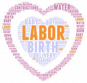 pic of birth  - Labor and birth heart shaped word cloud on a white background - JPG