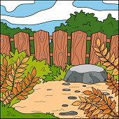 pic of stockade  - Vector illustration natural background  - JPG