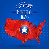 stock photo of memorial  - Blue happy memorial day design on a star background - JPG