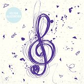 picture of clefs  - beautiful sloppy sketch doodle treble clef of messy lines - JPG