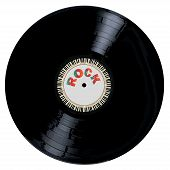 stock photo of lp  - A typical LP vinyl record with the legend ROCK and a circle of piano keys all over a white background - JPG