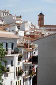 stock photo of pueblo  - View of the town and church pueblo blanco Algatocin Costa del Sol Malaga Province Andalucia Spain Western Europe - JPG