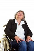 Woman In Wheelchair Looking Up
